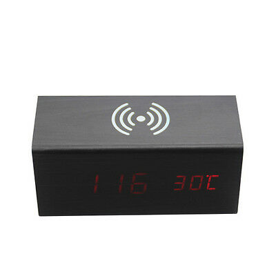 Wooden LED Alarm Clock Sound Control Qi Wireless Charger Charging for Phone