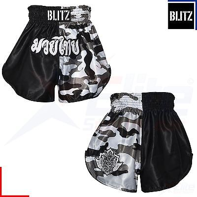 Blitz Kids Muay Thai Kickboxing Boxing Martial Arts Shorts Camo Black