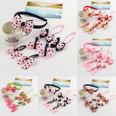 USA 7Pcs Cute Kids Girl Baby Toddler Bow Barrette Hair Band Accessories Headwear