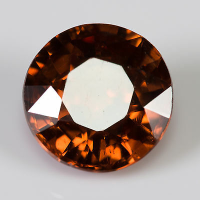 1.47 ct Zircon Round cut 6.39mm Si1 Natural loose gemstone Red brown color
