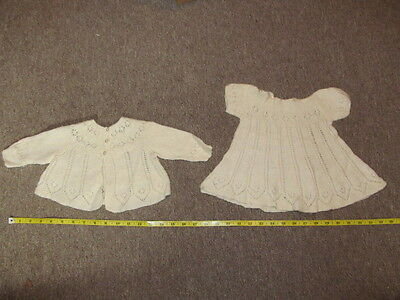 Vintage 1970s Hand-knitted Dress & Caradigan Set 0 - 3Mths