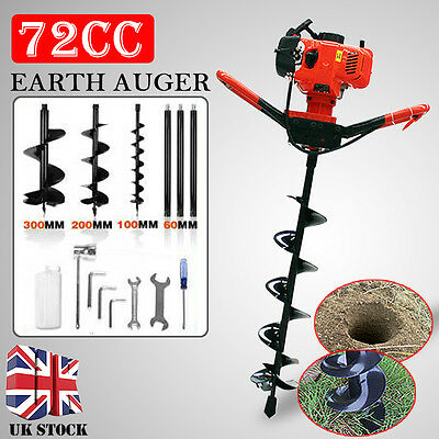 72cc Petrol Earth Auger 4HP Post Hole Borer Ground Drill with 3 Bits+3 Extension