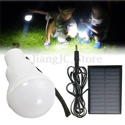 Portable 5W Solar Powered LED Light Bulb Outdoor Camping Hiking Fishing Lamp AU