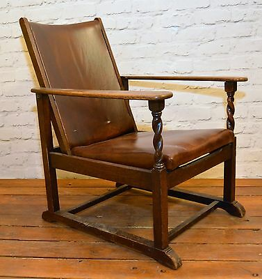 Leather oak antique adjustable chair office sitting room vintage victorian