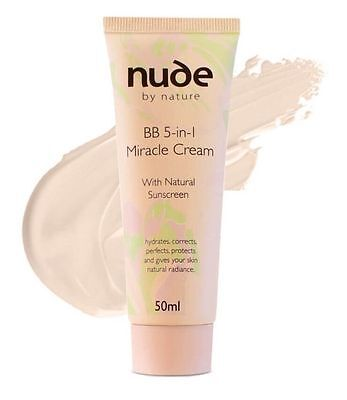 Nude by Nature BB 5-in1 Miracle Cream Natural Sunscreen Moisturizer Makeup LIGHT