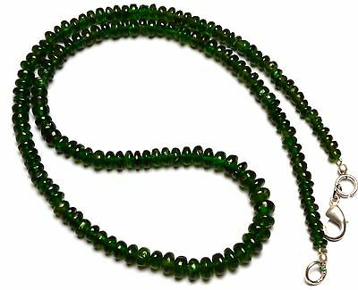 """Super Top Quality Chrome Diopside Gem Smooth 4-6Mm Rondelle Beads Necklace 16.5"""""""