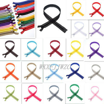 3# Nylon Invisible (12-20inch) Silk Zippers Sewing Tailoring Accessories 20color