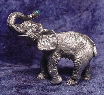 Pewter ELEPHANT with TUSK UP & Crystal Accent