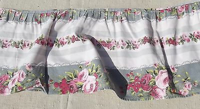 Vintage French Fabric Rose Ticking Cotton Ruffle Trim Romantic Valence