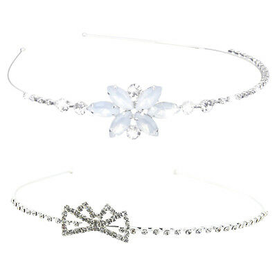 2pcs Wedding Party Prom Flower Girl Hair Jewelry Crystal Headband Tiara