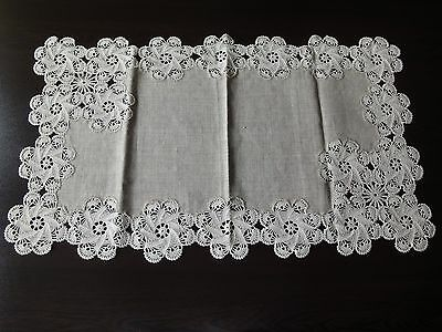 Vintage Handmade Ecru Floral Linen Table Runner with Lovely Crochet Lace