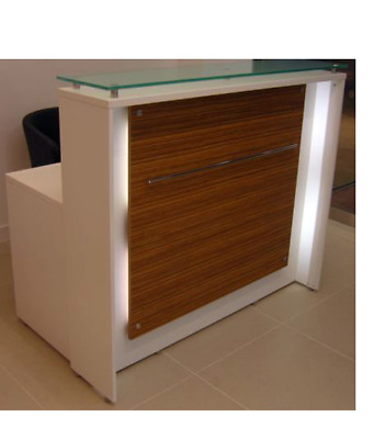 Hair & Beauty Salon Reception Desk with Glass Shelf - Retail Shop Counter