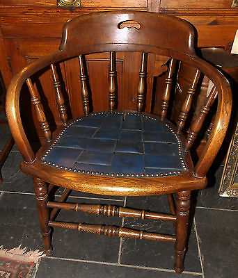 Antique Victorian bow library office desk ELBOW CHAIR oak bentwood leather seat