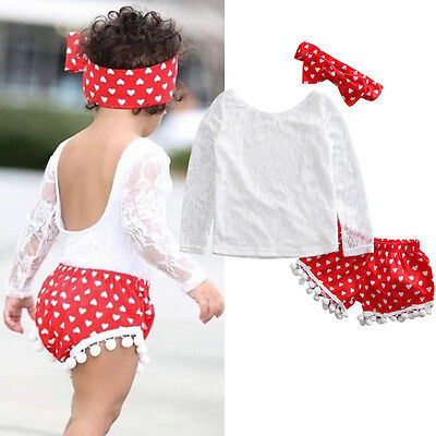 3pcs Toddler Baby Clothes Girl Lace Tops t shirt+Shorts Outfit Set US Stock