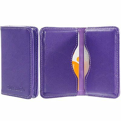 NEW Business Card Holder Case Leather Wallet 2 Pocket Credit Card ID Purple