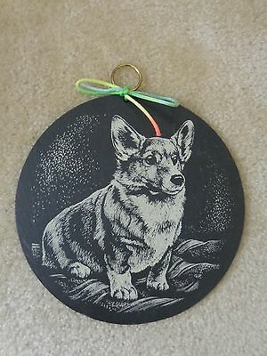 Welch CORGI Dog Slate Round Plaque for Indoor or Outdoor use