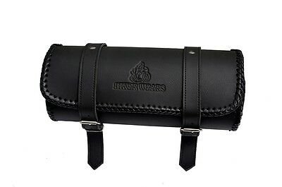 Motorcycle Motorbike Leather Universal Tool Roll Saddle Bag Biker Wears Bw-12