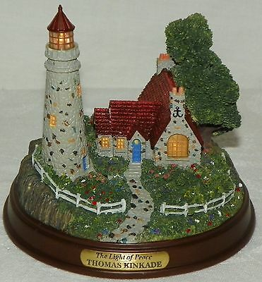 Thomas Kinkade 1999 The Light of Peace Lighted Lighthouse in Working Condition
