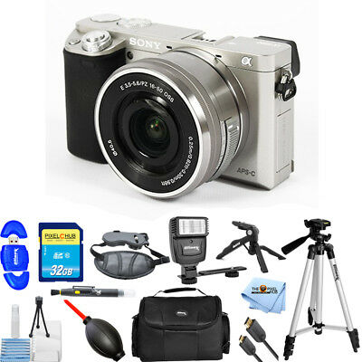 Sony Alpha a6000 Mirrorless Digital Camera w/ 16-50mm Lens (Silver) PRO BUNDLE!