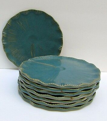 """Set of 8 Mid Century Modern Green Studio Pottery Lily Pad Plates 8.25"""" Excellent"""