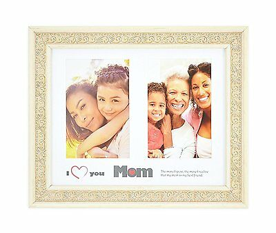 I Love Mom Frame 8x10 For 2 4x6 Photo W White Mat Easel Stand