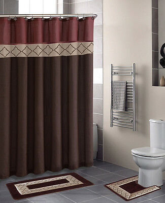Shower Curtain Matching Covered Fabric Hooks Bathroom Set 13Pc Dynasty