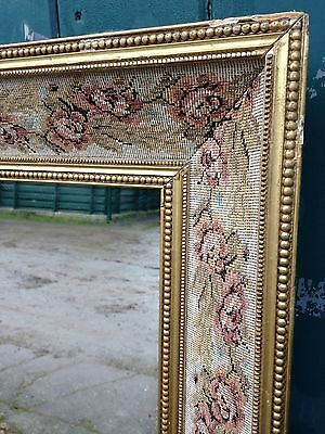 Antique Victorian Style Gilt and Tapestry Roses Framed Wall Mirror Overmantle