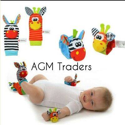 New Baby Infant Rattle Foot Socks and Wrist Toys Animals Soft toys Sensory Gift