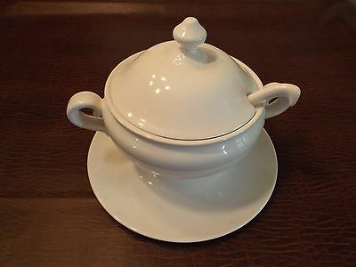 VERY Large White Ironstone Oval Soup Tureen & Cover and ladle with Plate