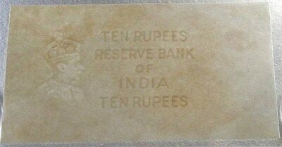 1930's British India 10 Rupee Unprinted Error Water Mark Paper Reserve Bank Note