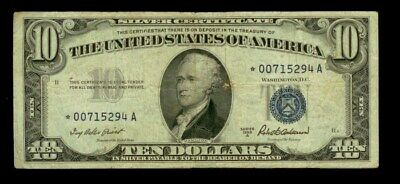 1953 A United States $10 Silver Certificate Star Note Fr# 1707* Low Issue