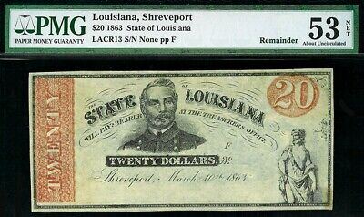 1863 Shreveport, La $20 Dollar State Of Louisiana Obsolete Note Pmg About Unc 53
