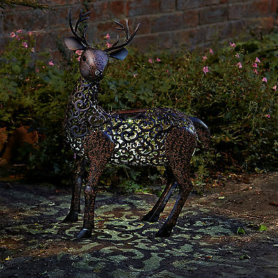 Smart Solar Metal Silhouette Stag Garden Patio Path Solar LED Light Ornament