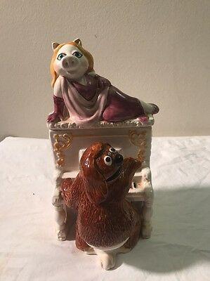Vintage Ceramic Muppets Rowlf playing piano with Miss Piggy trinket box Sigma
