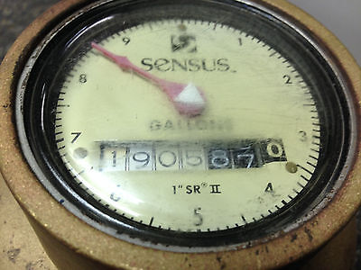 "Sensus SR2 / SRII  1"" Brass Water Meter Used, NO COVER CAP - Working"
