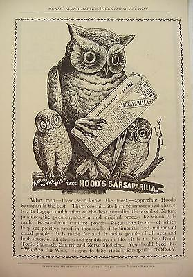 1900 Quack Medicine Hood's Sarsaparilla A Word To The Wise Owl Family Print Ad