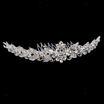 Vintage Crystal Leaf Flower Tiara Bridal Headband Wedding Hair Accessories