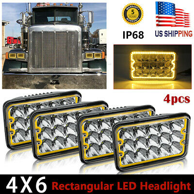 "4set 4X6"" LED Headlights CREE Light Bulbs Crystal Clear Sealed Beam Headlamp"