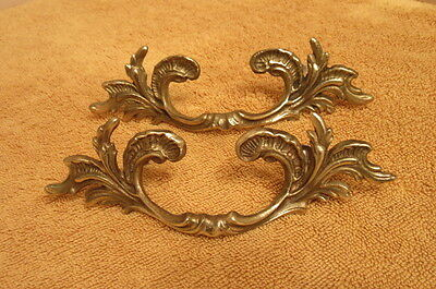 Pair of Vintage Victorian Ornate Brass Drawer Pulls