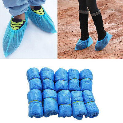 UK 100PC Disposable Shoe Covers Blue Colour Carpet Floor Protector Foot Covering