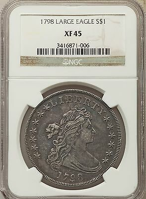 1798 US Silver $1 Draped Bust Dollar - Large Eagle Pointed 9 - NGC XF45