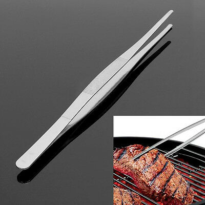 12'' 30cm Stainless Steel Long Food Tongs Straight Tweezers Kitchen Cook Tool
