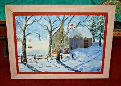 Vintage Oil Painting-Country Barn Snow Field Trees Wood Picket Fence-Signed WMEE