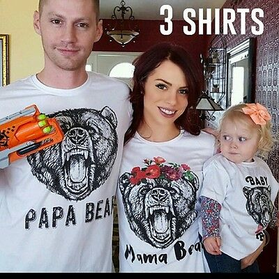 Family Matching Outfits T-shirt Clothes Papa Mama Kids Baby Bear Tops Tee US