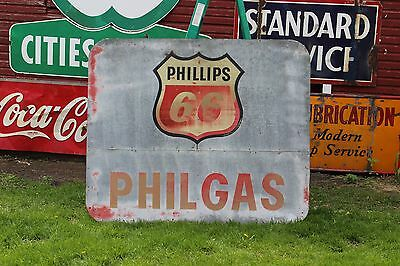 LARGE 1960's PHILLIPS 66 PHILGAS METAL WOOD FRAMED SIGN GAS OIL FORD CAR TRUCK