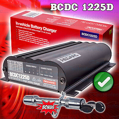 Redarc Bcdc1225D Dual Dc To Dc Charger Solar Agm & Lithium Battery +Trailer Lock
