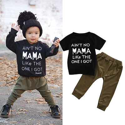 Newborn Baby Boys Girl Short Sleeve T-shirt+Long Pants Legging Outfit Clothes US