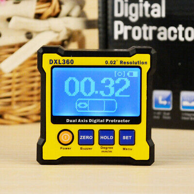 DXL360 Dual Axis LCD Digital Protractor Inclinometer Angle Meter EU Plug P8Z2