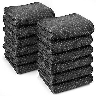 12 Pc 72x80-Inch Durable Moving Blanket Set For Furniture Protection Black/Grey