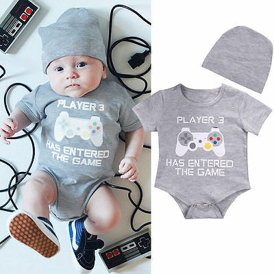 Newborn Baby Boy Girl Romper + Hat Set Newborn Bodysuit Jumpsuit Clothes Outfits